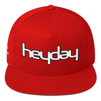 Red Flat Bill Snap Back Cap