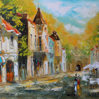 """""""The old Town"""" High quality Giclee print of original oil painting"""