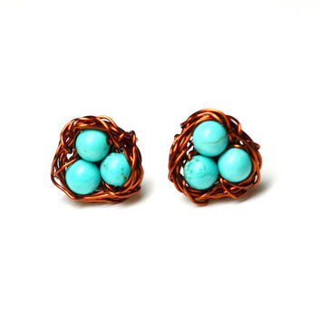 Wire Wrapped Bird's Nest Stud Post Earrings with Copper Wire and Turquoise Beads Mother Jewelry Birdwatcher Gift