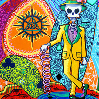 Masonic Trippy Wall Art Poster Day of the Dead Calavera Psychedelic Decor Best Man gift for him