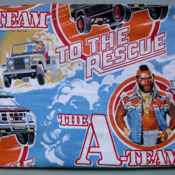 Vintage The A-Team Mr. T Rescue Helicopter Jeep Action Hero TV Show TWIN Size Flat Bed Sheet Kids Bedding Craft Fabric Used Clean HTF 1983