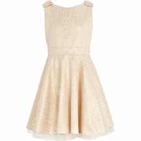 Girls yellow jacquard prom dress