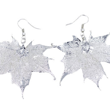 Real Leaf Hook Drop EARRINGS Sugar Maple in Sterling Silver Genuine Leaf
