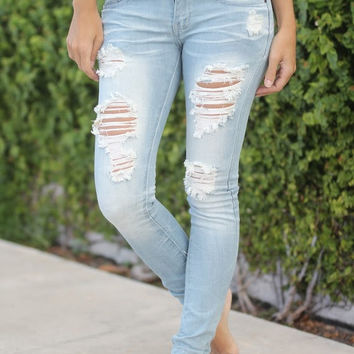 Super Destroyed Light Wash Skinny Jeans