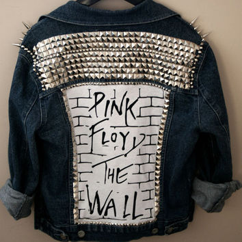 Studded PINK FLOYD denim jacket by FreebirdApparelUK on Etsy