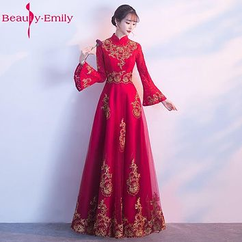 Beauty Emily Lace Long Bridesmaid Dresses 2017 Female A-line Party Prom Dresses Off the Shoulder Long Full Sleeve High Neck