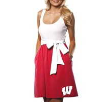 Wisconsin Badgers Womens Babydoll Sundress With Pockets - Cardinal/White
