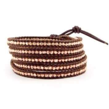 CHAN LUU ~ Rose Gold and Brown Leather Wrap