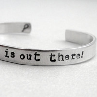 Personalized UP Bracelet - Adventure is Out There - Hand Stamped Aluminum Cuff - customizable