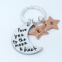 hand stamped keychain -I love you to the moon and back-personalised keyring -stars -for him / for her -anniversary-girlfriend boyfriend Gift