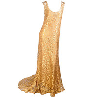 1930's Rare Metallic Gold Lace Gown with Train