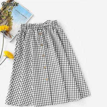 ROMWE Woman Brown Button Front Drawstring Waist Bow Skirt 2017 Flared Knee Length Bottoms Summer Plaid Skirt