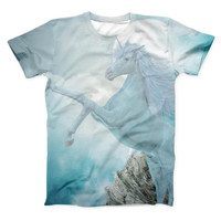 The Majestic White Stallion Unicorn ink-Fuzed Unisex All Over Full-Printed Fitted Tee Shirt