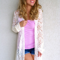 Lace Cardigan: White