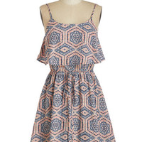 Americana Mid-length Spaghetti Straps Fit & Flare Dabble in Drollery Dress