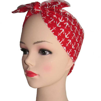 Red White Anchor Fabric Head Wrap Scarf