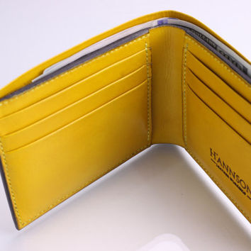 Handmade Bi-fold Leather Wallet for Men No.1 - Hand Stitched and Dyed Yellow - Full grain Veg-Tan