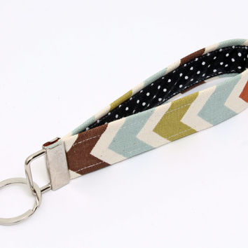 Fabric Key fob, fabric keychain wristlet, keyring, key lanyard - blue, green, rust, brown, natural chevron with black and white polka dot