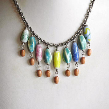 Rainbow Tribal Necklace Glass and Ceramic Beads by bionicunicorn