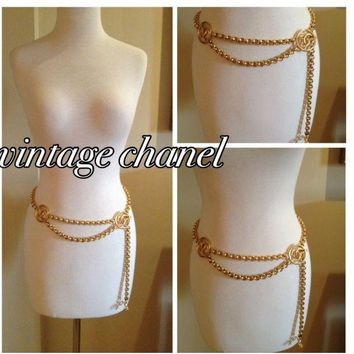 "VINTAGE CHANEL GOLD CHAIN BELT 40"" LENGTH"