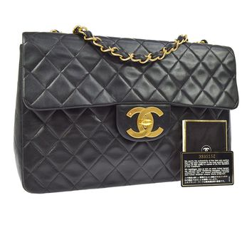 Auth CHANEL Jumbo Quilted CC Double Chain Shoulder Bag Leather Black VTG V22822