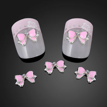 10PCS Hot 3D Metal Alloy Nail Rhinestone Bow Tie Butterfly DIY Nail Art Decoration Stickers Pink NA872