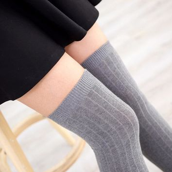 PEONFLY Autumn and winter Vertical stripe long tube knee socks cuff anti-skid Stockings Thigh High Thick stocking tights