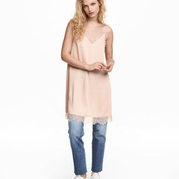 H&M Slip-style Dress with Lace $34.99