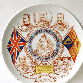 Antique Military Teapot Stand Boer War Entering Pretoria South Africa Memorial 1900, Queen Victoria Baden-Powell Kitchener, Wood & Son