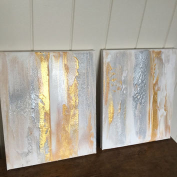 Gold And Silver Artwork Diptych Textured Art Painting Abstract