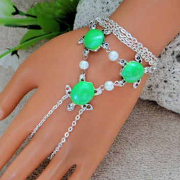 Neon Green Turtle Slave Bracelet Ring, Hand Chain, Body Jewelry, Infinity, Wristlet, Finger Chain