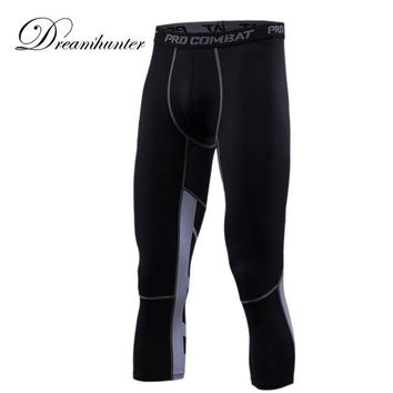 Elastic Mens Compression Running Leggings GYM Basketball Training Jogging 3/4 Pants Men Track Sweatpants Bodybuilding
