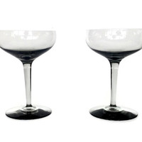Smokey Glass Cocktail Coupes, Large Champagne Saucers, Set of Two
