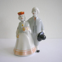 Vintage USSR Soviet porcelain dancing couple figurine made in Latvia