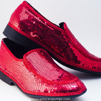 Sequin Men Metro Red Leather Loafer Dress Slip On Shoes