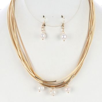 Multi Str Pearl Charm Bib Coil Wire Cord lic Bead Necklace Earring Set