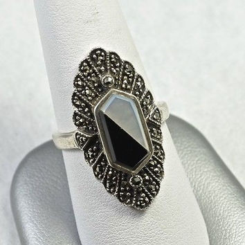 Vintage Style Sterling Silver Ring With Onyx and Marcasite Handmade 925 Jewelry