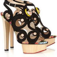 Charlotte Olympia Anastasia suede and wooden sandals – 49% at THE OUTNET.COM