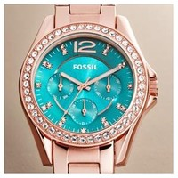 Fossil Women's Riley ES3385 Rose-Gold Stainless-Steel Quartz Watch with Green Dial: Fossil: Amazon.ca: Watches