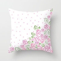 Garden Rose and Dots - Blush Throw Pillow by Lisa Argyropoulos
