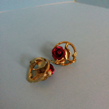 Vintage Gold And Red Metal Rose Clip On Earrings