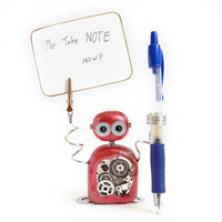 Note Robot V05 NOTE and PEN HOLDER Photo Holder Desk Decor Desk Companion Desk Organiser Kawaii Geekery