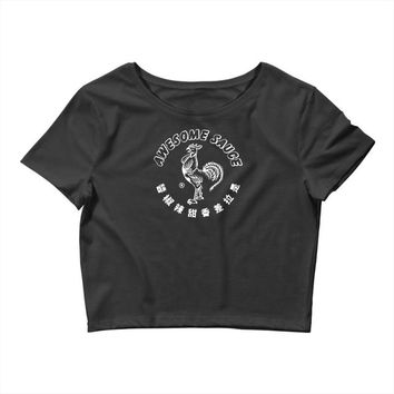 awesome sauce asian humor rooster funny cool Crop Top