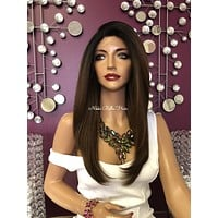 Chocolate Brown Ombré Swiss Lace Front Wig 18"