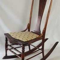 Vintage Walnut Rocking Chair, Floral Upholstered Seat, Low Sewing or Nursing Rocker
