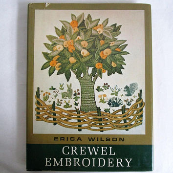 Vintage 1960s Hardcover Book Erica Wilson Crewel Embroidery Craft DIY Instructional 60s Book