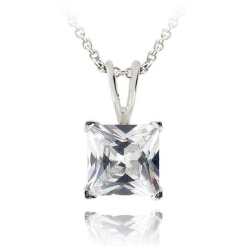 2ct CZ Square Solitaire Necklace, 7mm in Brass