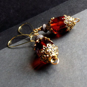 Tortoise Shell Earrings:  Ornate Antiqued Gold Drop Earrings, Classic Everyday Mixed Metal Dangle Earrings, Autumn Jewelry