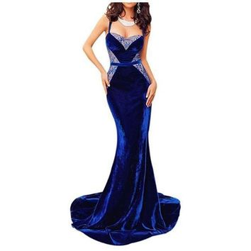 Blue Velvet Lace Spaghetti Strap Evening Dress Prom Gown