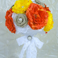 "In Stock Burlap 10"" Bridal Bouquet White Orange Yellow Natural Burlap Can Be Customized Lace Silk Ranunculus Rose Rustic Shabby Chic Vintage"